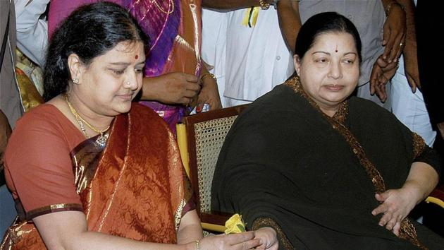 A file photo of the late AIADMK chief J Jayalalithaa with her close friend and aide Sasikala Natarajan . Neither Jayalalithaa's successor Panneerselvam nor Sasikala have anything to do with the film industry,(PTI)
