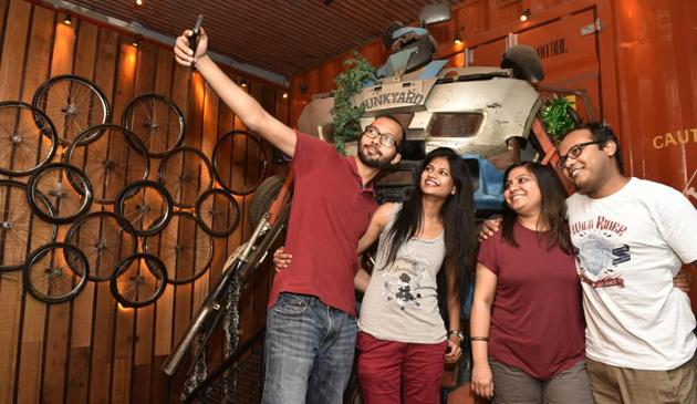 The Junkyard Cafe in Delhi has created selfie spots for trigger-happy guests(Saumya Khandelwal)