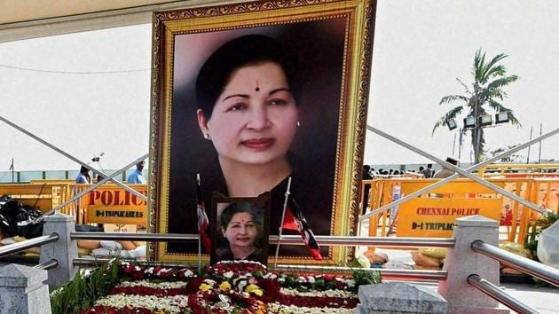 The spot where AIADMK chief Jayalalithaa was laid to rest, adjacent to the MGR Memorial in Chennai.(PTI Photo)