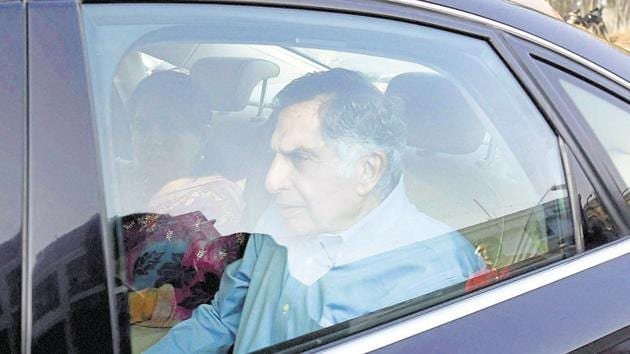 Ratan Tata with BJP spokesperson Shaina NC leaves after his meeting with RSS chief Mohan Bhagwat in Nagpur.(PTI Photo)