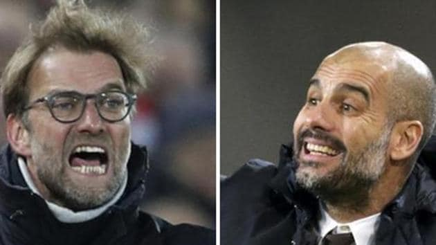 Liverpool's Juergen Klopp and Manchester City's Pep Guardiola will go head to head in a Premier League match on Saturday(Reuters)