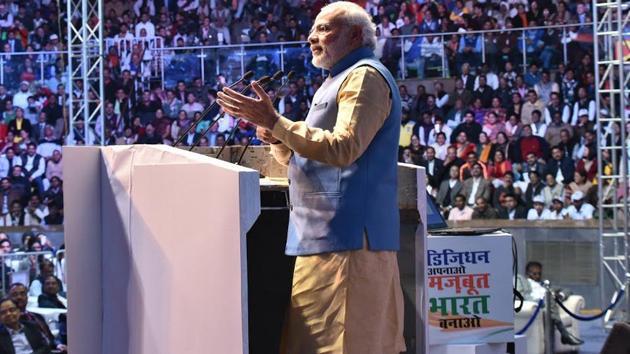 PM Modi addressing at the DigiDhan Mela in New Delhi on Friday.(PIBIndia on Twitter)