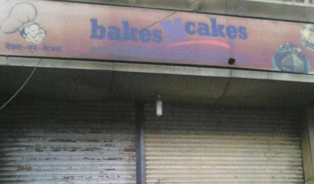 The fire engulfed Bakes N Cakes, located on Kondhwa Road, within minutes following a short circuit inside the shop, said fire brigade officials.(HT Photo)