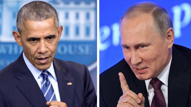 (US President Barack Obama speaking at the White House in Washington, DC on December 16 and Vladimir Putin speaking in Moscow on December 23.(AFP)