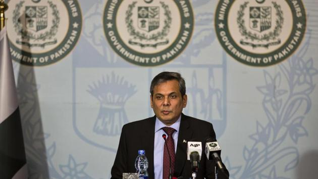 Pakistan foreign ministry spokesman Nafees Zakaria speaks during a weekly briefing in Islamabad, Pakistan.(AP photos)