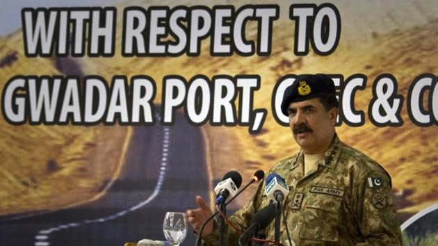 A file photo of former Pakistan Army Chief General Raheel Sharif addresses at a seminar on 'Prospects of Peace And Prosperity In Balochistan' in Gwadar. Sharif said China-Pakistan Economic Corridor (CPEC) is a deep manifestation of the time-tested relations between China and Pakistan. But there are foreign forces who are working to destabilise Pakistan and the project(AP)