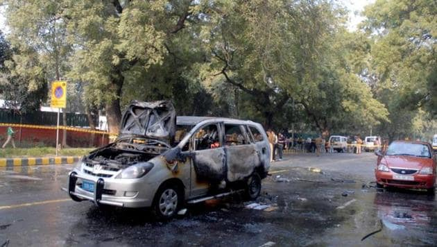 The remains of an Israeli diplomat's car that was targeted in 2012 in New Delhi. The diplomat's wife, driver and two others were injured in the attack.(HT File Photo)