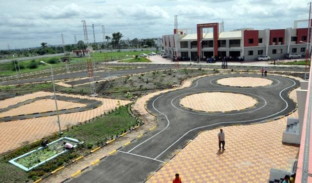 The Indore Road Transport Office will soon start taking driving tests on the newly built smart track.(Arun Mondhe/HT photo)