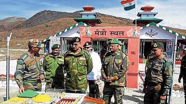 Lt Gen Praveen Bakshi visiting troops at Tawang, Arunachal Pradesh. The general has wide-ranging experience over all kinds of warfare and in all types of terrain.(PHOTO: Defence PRO)