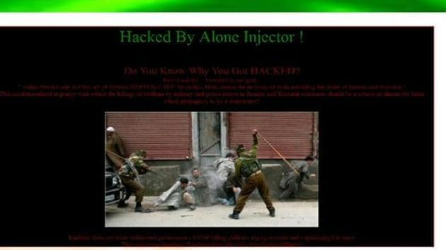 The website was hacked on Sunday by a group that identified itself as 'Alone Injector'.(Screengrab)