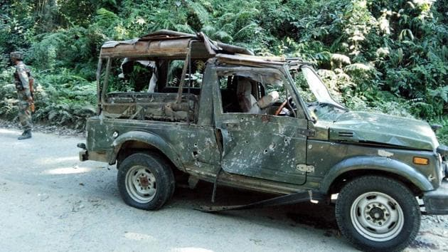 The army vehicle which was part of a convoy ambushed on the Pengeri-Digboi road near the Pengeri reserve forest in Assam's Tinsukia district by suspected ULFA (I) and NSCN (K) militants in November, 2016.(PTI File Photo)