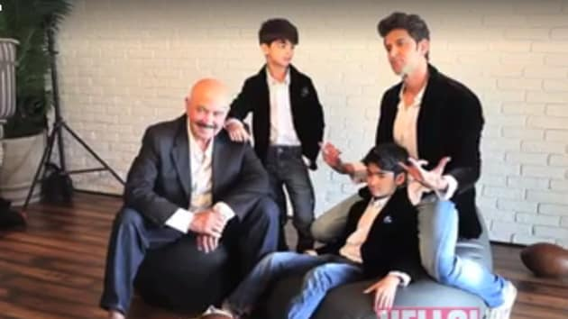 The Roshan family in a still from the video shoot by Hello magazine.