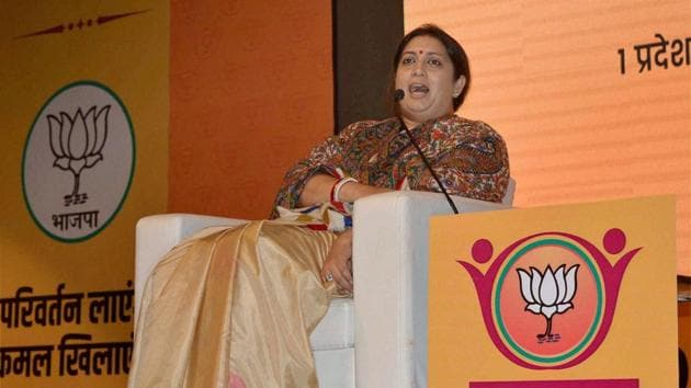 Union minister and BJP leader Smriti Irani addresses a party programme in Meerut on Friday.(PTI Photo)