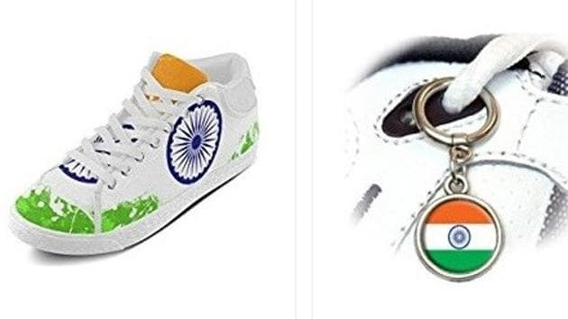 Amazon's United States arm sells shoes and shoe lace metal hoops bearing a likeness to the Indian tricolour.(Picture courtesy: Screengrab)