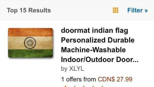 Amazon Canada has delisted from sale all doormats with Indian flags on them.(Ratnesh Mishra)