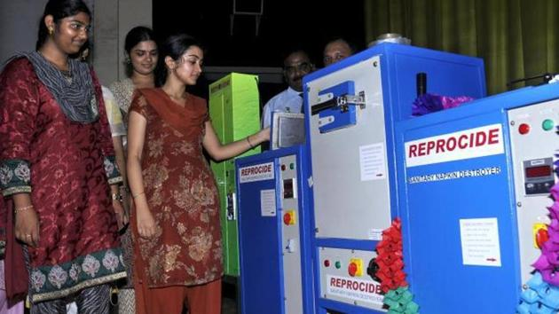 Haryana Government has decided to install automated sanitary napkin vending machine and incinerators in all government colleges in the state.(Representational Photo)