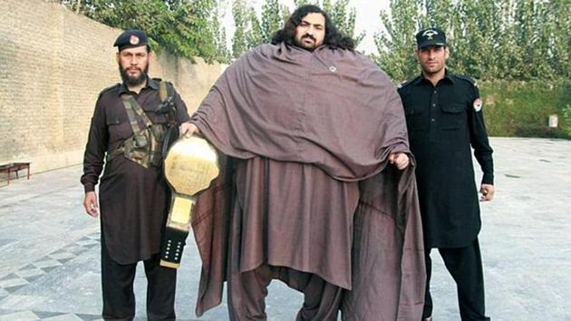 Hayat weighs 435 kgs and eats 10,000 calories a day. His diet involves consuming 36 eggs, 7 pounds of meat and 5 litres of milk in a single day alone(Twitter Photo)