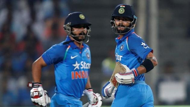 Kedar Jadhav (left) struck his second ODI century and put on a 200-run partnership with new limited-overs skipper Virat Kohli (right) in the first one-dayer in Pune on Sunday.(REUTERS)