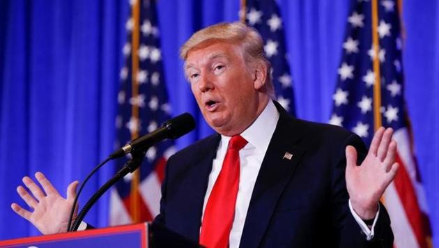 US president-elect Donald Trump speaks during a press conference in Trump Tower, Manhattan.(Reuters File Photo)