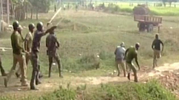 Police and villagers clash in South 24 Parganas district, as residents protest against a power grid project.(ANI Photo)