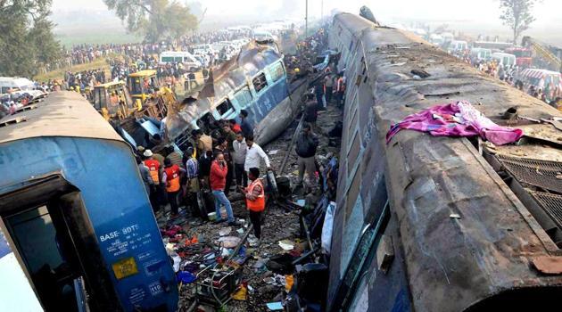 Rescue and relief work in progress after the Indore-Patna express derailed near Kanpur Dehat.(PTI)
