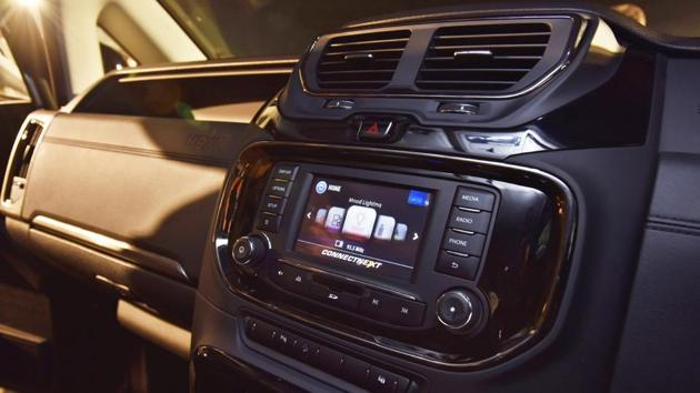 The new crossover comes with several comfort features like high-quality contoured leather seats (height adjustable for the driver), auto climate control, touchscreen infotainment system with Bluetooth, USB, AUX-IN and smartphone connectivity, 10 JBL speakers. (Sanjeev Verma/HT PHOTO)