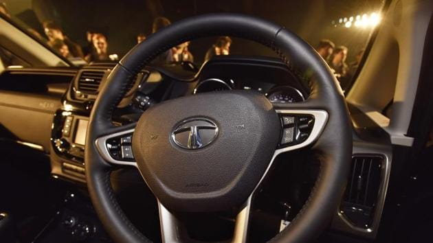 The three-spoke steering wheel that is seen on latest Tata cars, makes an appearance here as well along with a host of features. There is also a terrain management system that helps the crossover traverse on different terrains with ease. (Sanjeev Verma/HT PHOTO)