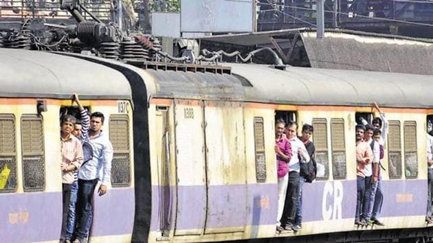 During the evening peak hours, the pantograph of a suburban train caught fire, bringing services to a halt.(HT File Photo)