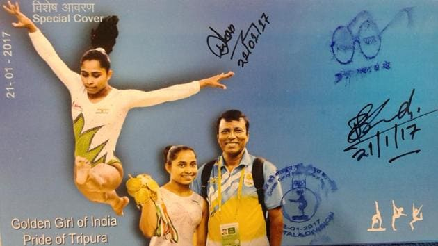 The Department of Post, on Saturday, unveiled a special cover on gymnast Dipa Karmakar.(HT Photo)