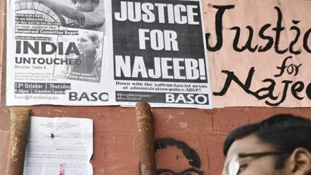 Najeeb Ahmed, an MSc Biotechnology student, went missing on October 15 after a scuffle allegedly with ABVP affiliated students at his hostel on the JNU campus.(Saumya Khandelwal/HT File Photo)