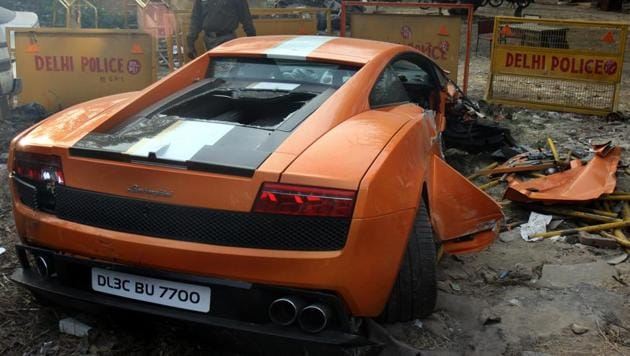 The Lamborghini crash on South Delhi's BRT Corridor had left the driver dead and another person injured on February 19, 2012.(HT FILE)