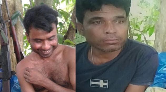 Selfies of Ruful Ali (left) Lhoisha Sema (right) clicked inside Kaziranga National Park before killing a rhino in June last year.(HT Photos)