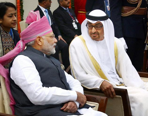 Prime Minister Narendra Modi and Crown Prince of Abu Dhabi General Sheikh Mohammed Bin Zayed during the 68th Republic Day Parade at Rajpath in New Delhi on Thursday.(PTI)