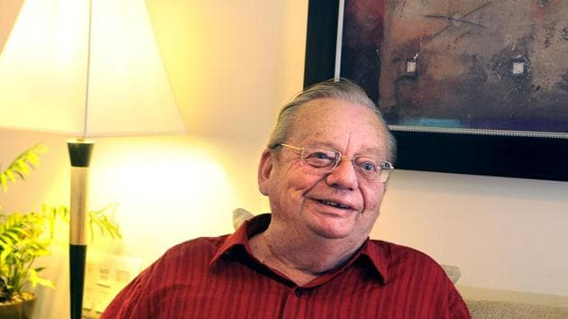 New Delhi, India - Sept. 9, 2014: Writer author Ruskin Bond, in New Delhi, India, on Tuesday, September 9, 2014. (Photo by Subrata Biswas/ Hindustan Times)(Hindustan Times)
