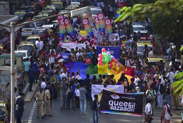 The QAM Mumbai Pride March at August Kranti Maidan on January 28, 2017(Arijit Sen/HT PHOTO)