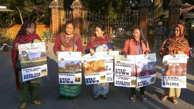 Women activists staging a protest demonstration in front of Raj Bhawan in Shillong, Meghalaya.(PTI Photo)