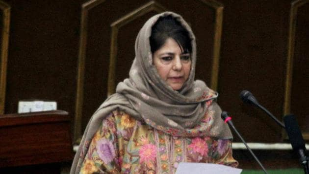 Jammu and Kashmir chief minister Mehbooba Mufti addressing the Legislative Assembly during the Budget Session, in Jammu on January 30.(PTI Photo)