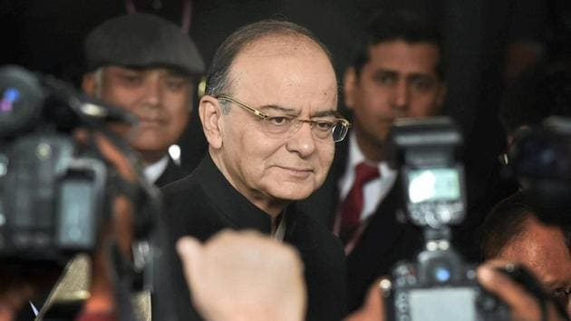 Finance minister Arun Jaitley arrives at Parliament to present the Union Budget 2017-18 in the Lok Sabha on Wednesday.(PTI Photo)