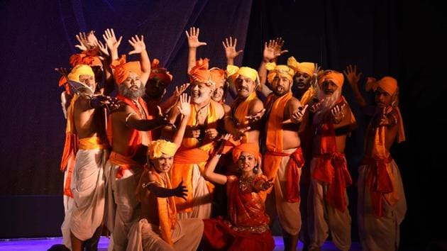 Panchali Ki Shapath, a Hindi play, uses Draupadi's public humiliation to address violence against women. It's one of several plays to retell epics with a modern message.(Photo courtesy: Rangrayog)