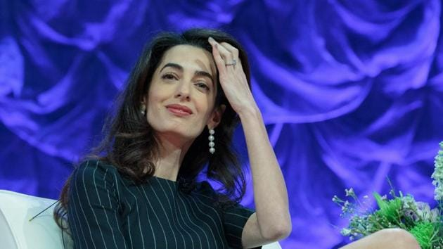British human rights lawyer Amal Clooney speaks during the Texas Conference for Women held at the Austin Convention Centre.(AFP)