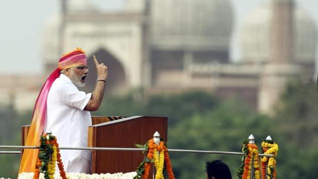 Prime Minister Narendra Modi addresses the nation on Independence Day last year.(ARVIND YADAV/HT PHOTO)