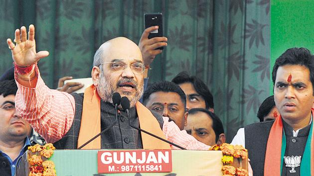 Shah announced that the BJP, when it is voted to power, will come down on slaughterhouses from Day 1.(Sunil Ghosh/HT)