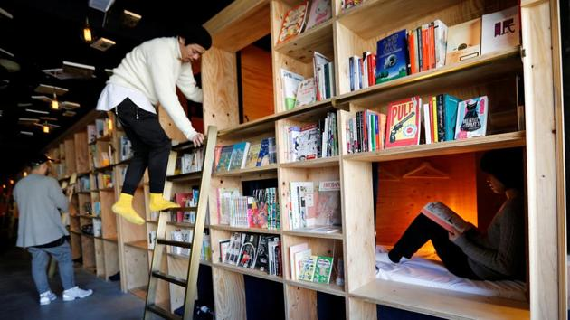 Cabins inside Book And Bed, a bookshop-themed capsule hotel, in Tokyo, Japan.(REUTERS/Toru Hanai)