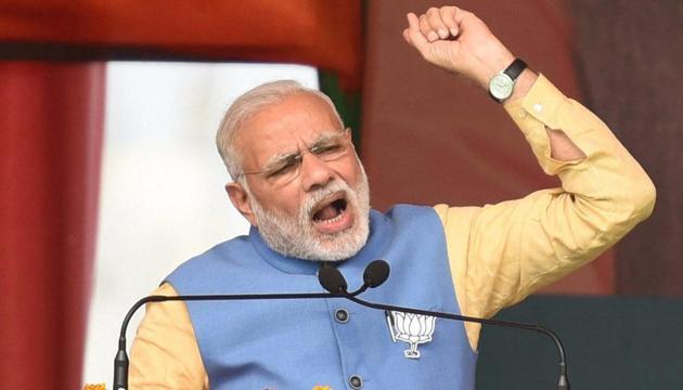 Prime Minister Narendra Modi addresses an election rally in Aligarh, Uttar Pradesh, on Sunday.(PTI)