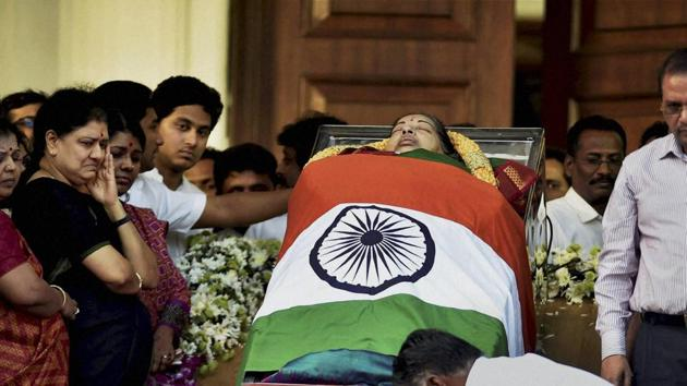 Former Tamil Nadu chief minister J Jayalalithaa died in Chennai on December 5, 2016.(PTI File Photo)