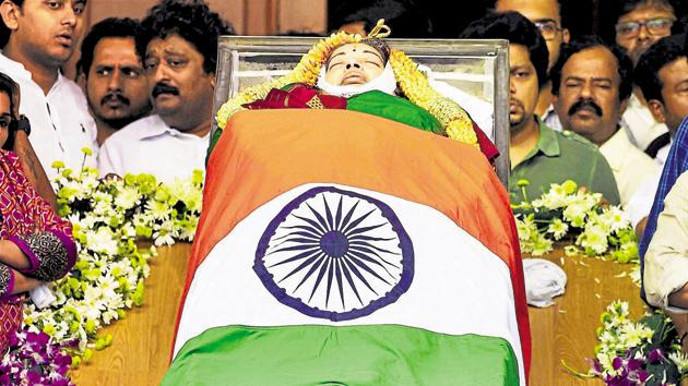 Former Tamil Nadu chief minister J Jayalalithaa died on December 5 due to a sudden cardiac arrest.(PTI File Photo)