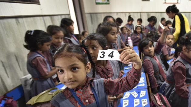 These students were given special attention and every day two hours were spent teaching them basic reading skills, using different methods such as videos and interactive stories to teach alphabets.(Raj K Raj/Hindustan Times)