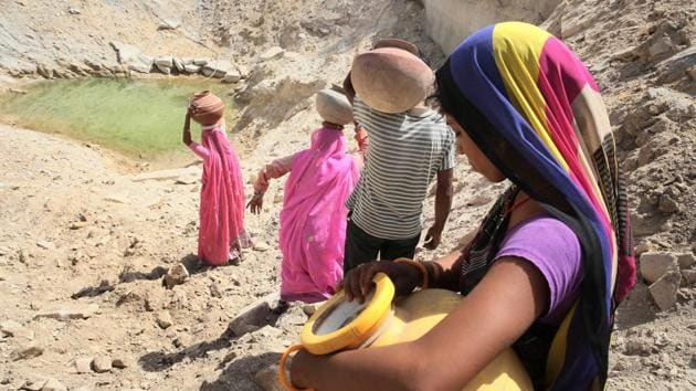 The groundwater level recorded an average rise of 4.66 feet in 21 non-desert districts of Rajasthan after the execution of the Mukhya Mantri Jal Swavlambhan Abhiyan (MJSA) phase-I, executed in 2016.(HT File Photo)