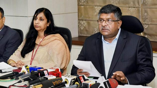 Union information technology minister Ravi Shankar Prasad briefs the media in New Delhi on Friday on the recent developments in the electronics and IT sector.(PTI)