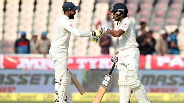 Wriddhaman Saha blasted his second Test century while Ravindra Jadeja notched up his fifth fifty as India were on top against Bangladesh in the one-off Test(BCCI)
